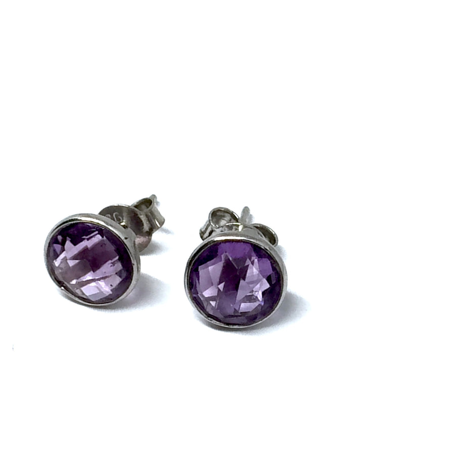 STERLING SILVER NATURAL STONE AMETHYST ROUND STUD EARRINGS