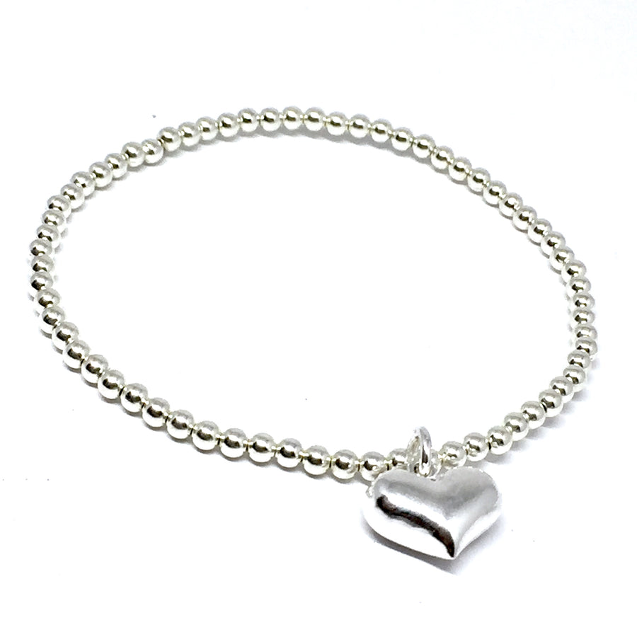 3mm Sterling Silver Puffed Heart Charm Bracelet