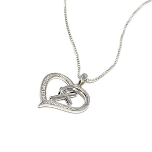 Sterling Silver Cubic Heart and Cross Necklace