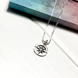 Sterling Silver Mini Sundial Compass Necklace