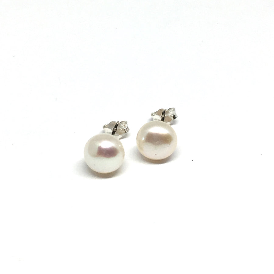 8MM WHITE FRESHWATER PEARL STERLING SILVER EARRINGS