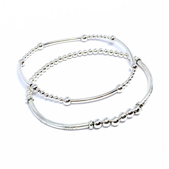 "THE ""DOUBLE"" STERLING SILVER BRACELETS"