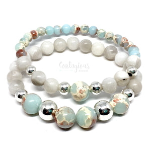 Beautiful silver, white lace agate and mixed agate mala bracelet