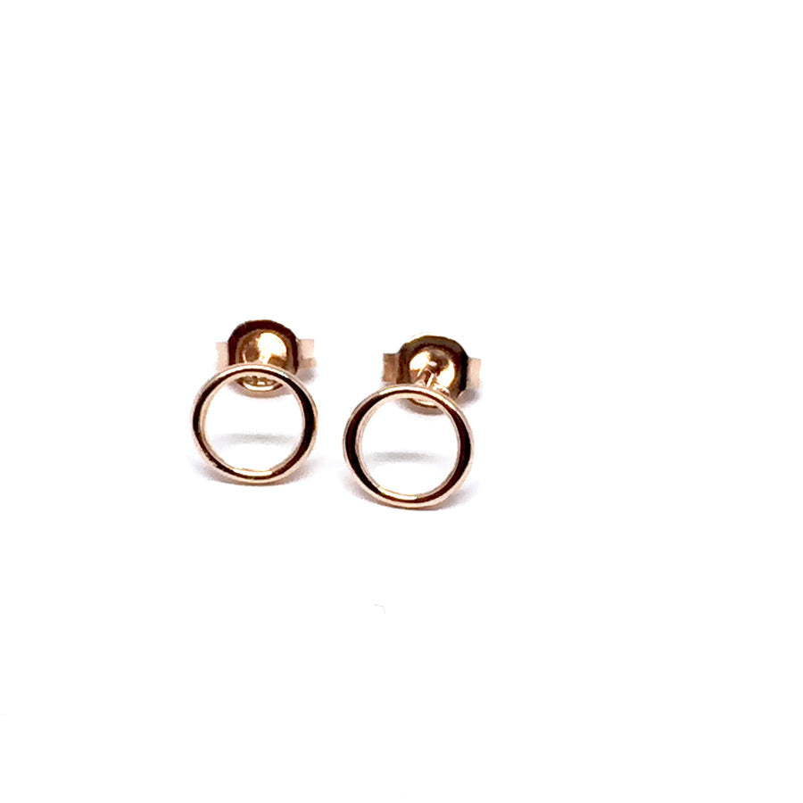 ROSE GOLD OVER STERLING SILVER CIRCLE EARRINGS