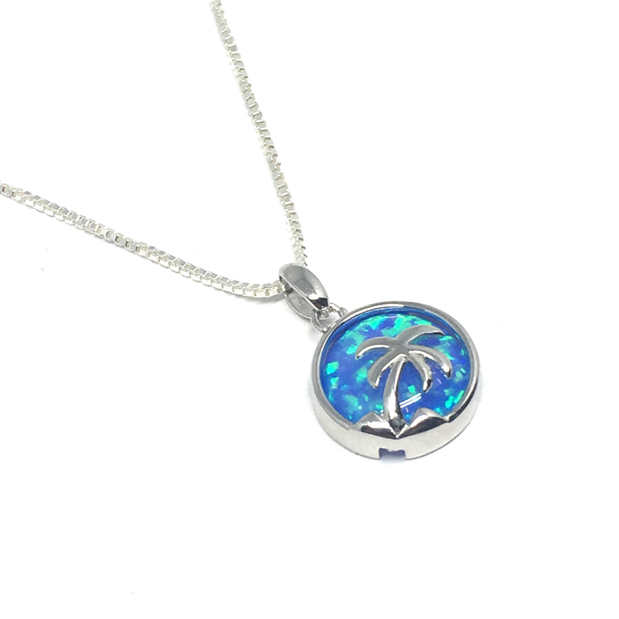 Silver & Blue Opal Palm Tree Vacation Necklace
