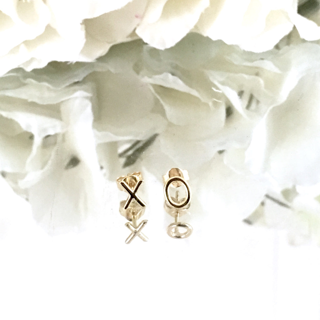 GOLD OVER STERLING SILVER XO STUD EARRINGS