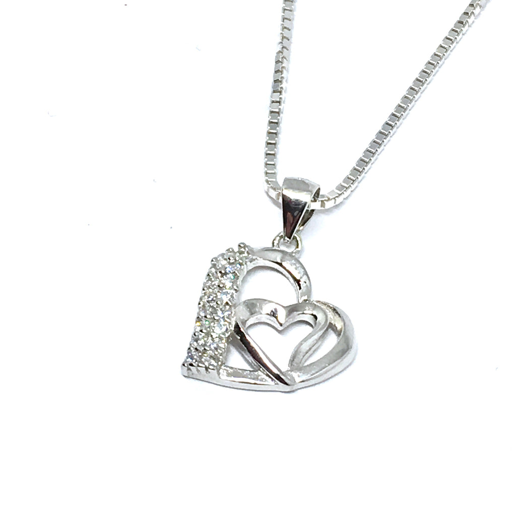 STERLING SILVER & CUBIC ZIRCONIA DOUBLE HEART NECKLACE
