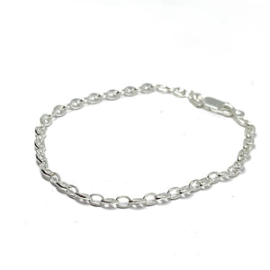 Sterling Silver Gucci Style/ Mariner Link Bracelet 3.2mm - Made in Italy