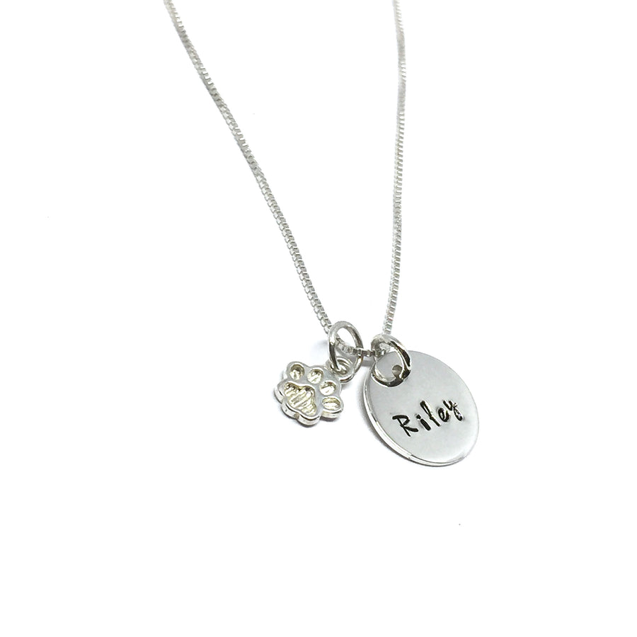 CUSTOM NAME DOG PAW NECKLACE