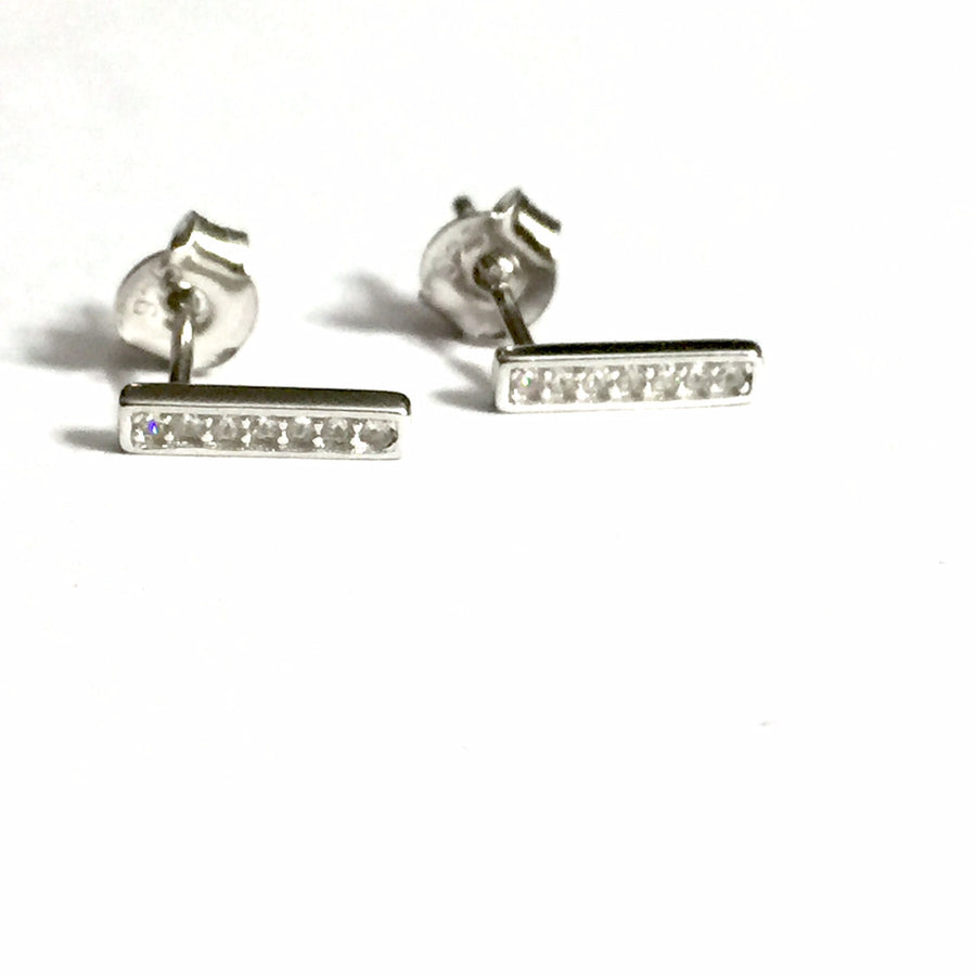 STERLING SILVER STRAIGHT BAR CUBIC ZIRCONIA EARRINGS