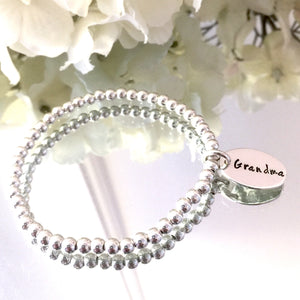 4mm Silver Bracelet with Custom Oval Tag
