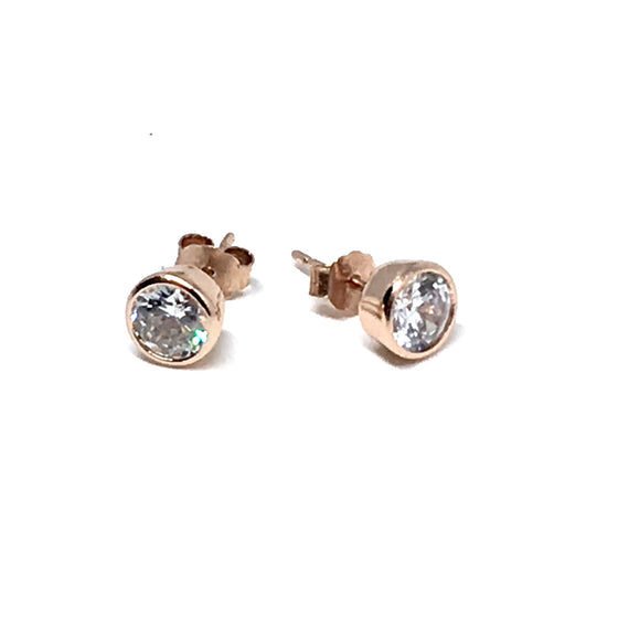 ROSE GOLD OVER STERLING SILVER CRYSTAL STUD EARRINGS