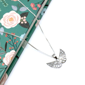 Sterling Silver Double Angel Wing Necklace