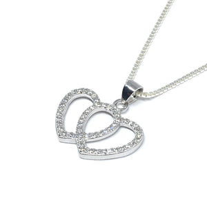 Sterling Silver & Cubic Together Forever Interlocking Heart Necklace