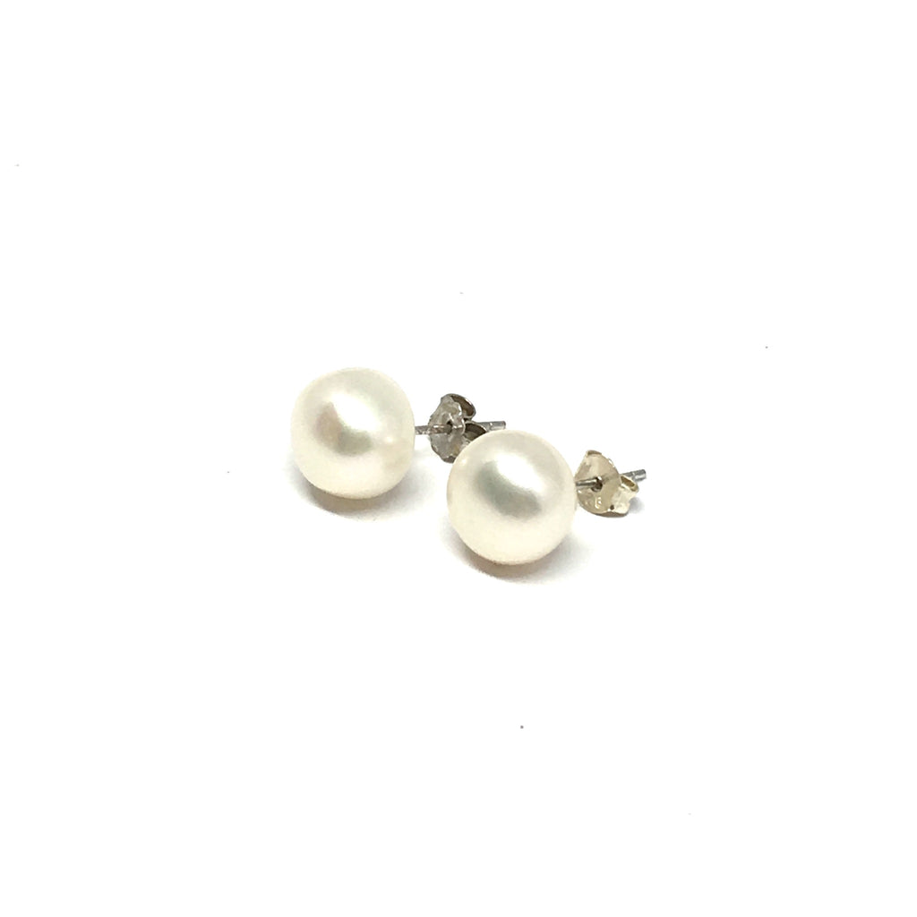 10MM WHITE FRESHWATER PEARL STERLING SILVER EARRINGS