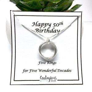 50th Birthday Sterling Silver Five Ring Necklace