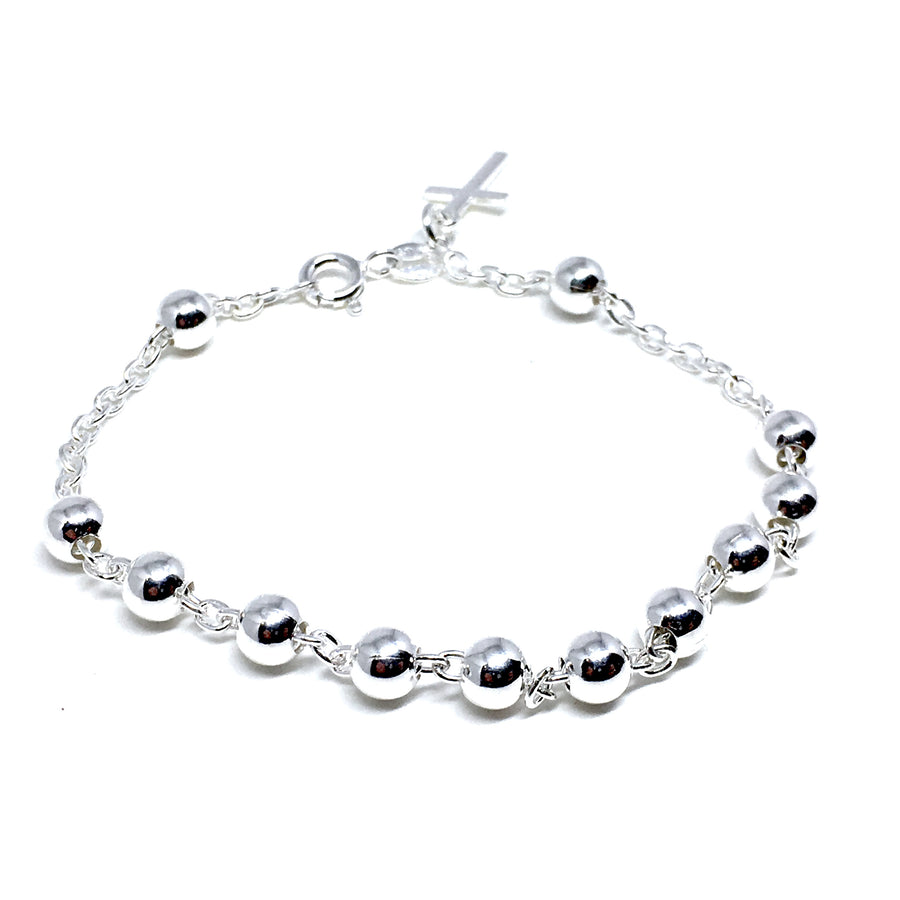 "7"" Sterling Silver Rosary Bracelet with Cross Charm"