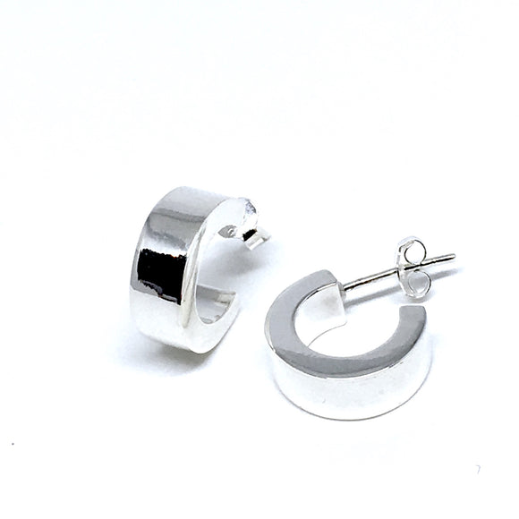 STERLING SILVER WIDE MINI HOOPS