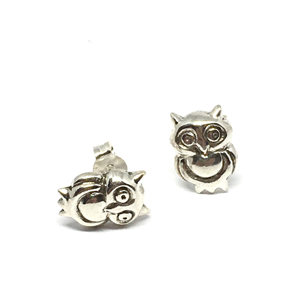 STERLING SILVER OWL EARRINGS