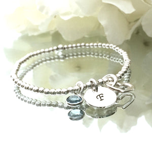 3mm Silver Stretch with Custom Initial Charm, Open Heart & Birthstone
