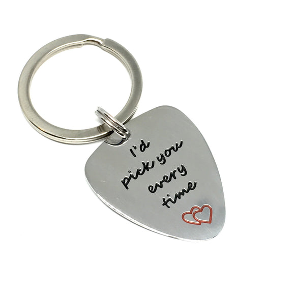 "Guitar Pick Key Chain - ""I'd Pick You Every Time"""