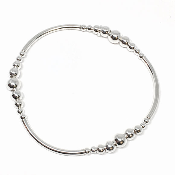 Triple Bar 2-4-6mm Stretchy Bead Bracelet