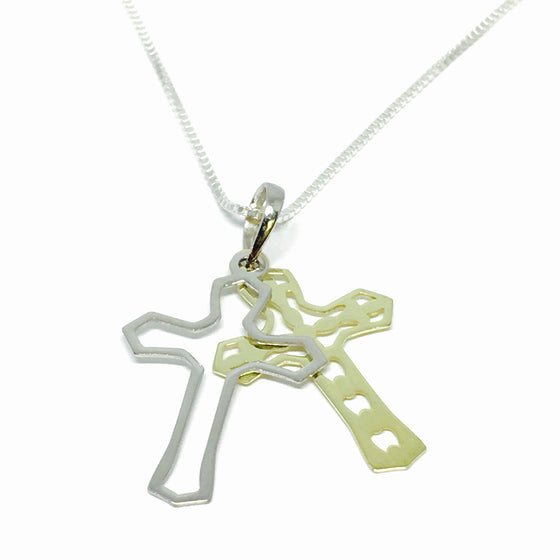 Silver & Gold Double Cross Necklace