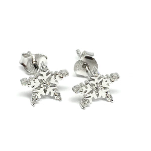 5 POINT SILVER AND CUBIC ZIRCONIA SNOWFLAKE EARRINGS