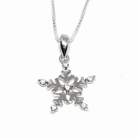 Sterling Silver & Cubic Z Snowflake Necklace