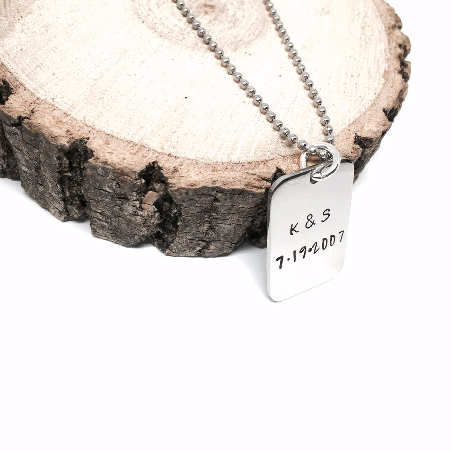 Stainless Steel Hand Stamped Rectangle Pendant Necklace