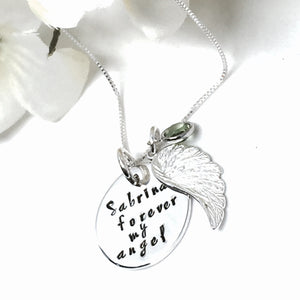 Custom Angel Wing Necklace (19.5mm Charm)