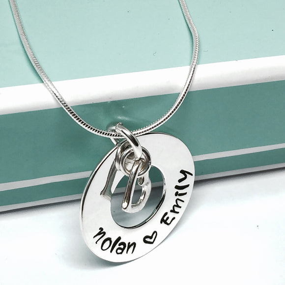 Custom Hand Stamped Circle of Life Necklace w/Heart