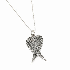 Oxidized Sterling Silver Double Angel Wing Necklace