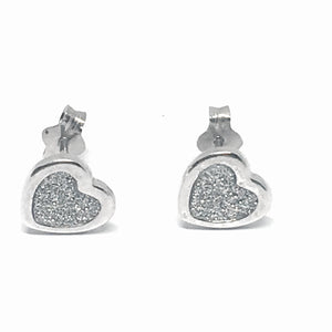 Sterling Silver Stardust Heart Earrings