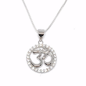 Sparkly Cubic Z Om Charm Necklace