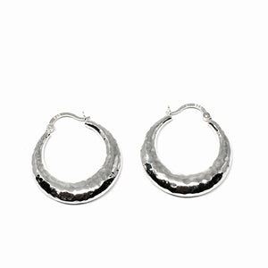 STERLING SILVER PUFFY HOOP EARRINGS
