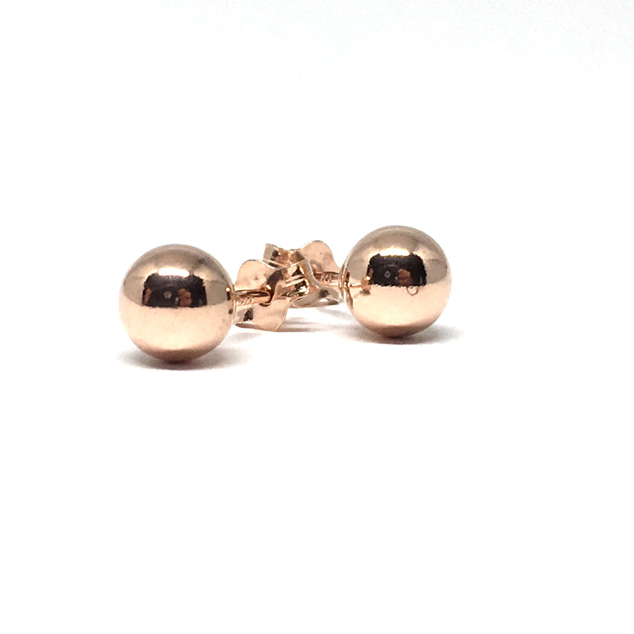 ROSE GOLD OVER STERLING SIVER 6MM STUD EARRINGS