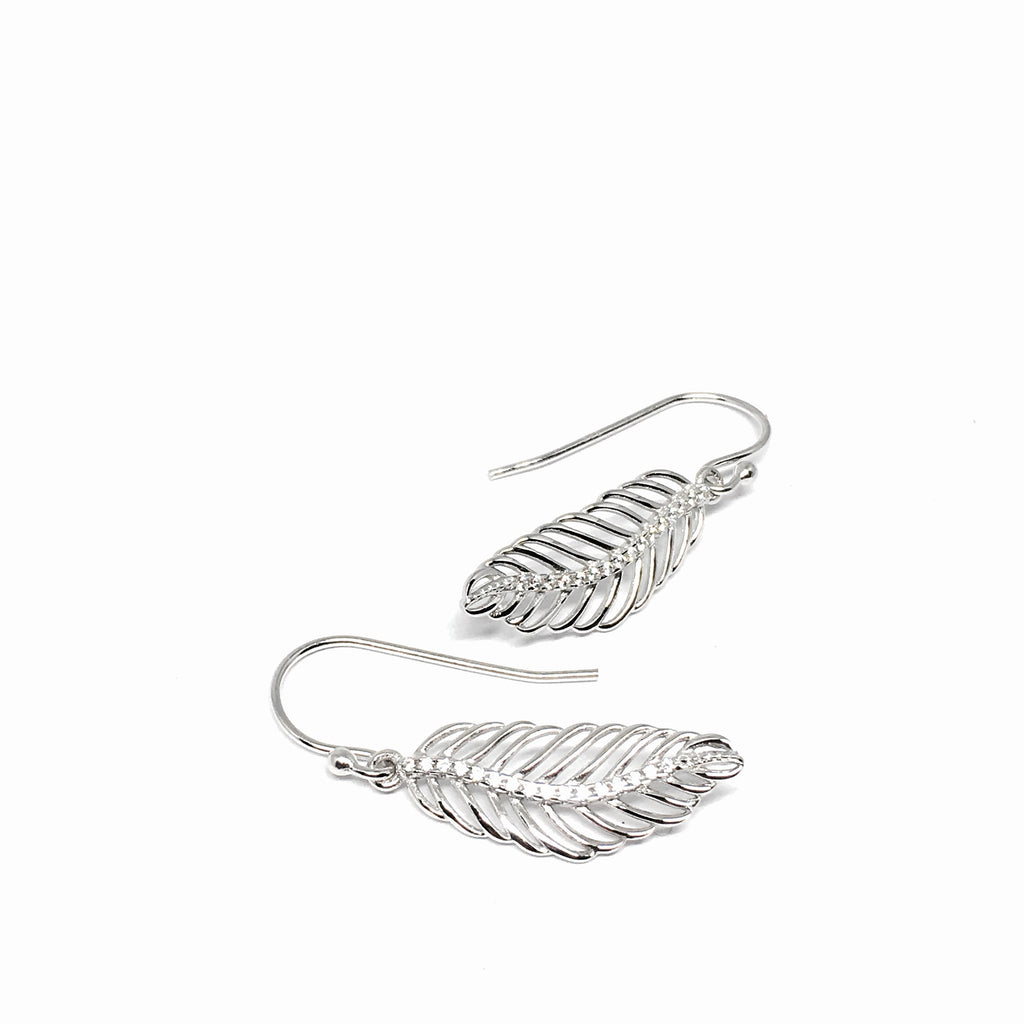 STERLING SILVER & CUBIC ZIRCONIA LEAF DROP EARRINGS