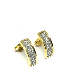 GOLD OVER STERLING SILVER STARDUST CURVE BAR EARRINGS