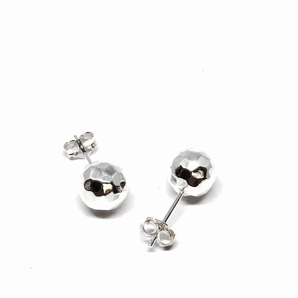 STERLING SILVER 8MM HAMMERED BALL EARRINGS