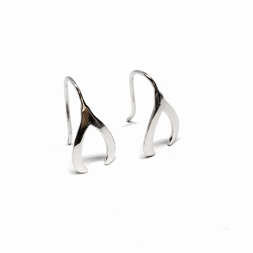 STERLING SILVER WISHBONE EARRINGS