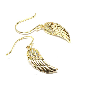 GOLD OVER STERLING SILVER ANGEL WING DROP EARRINGS