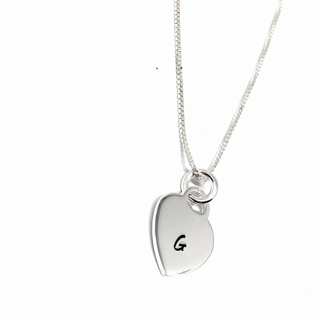 Sterling Silver Hand Stamped Heart Initial Necklace