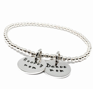 3mm silver ball bracelet with hockey mom and dance mom charms