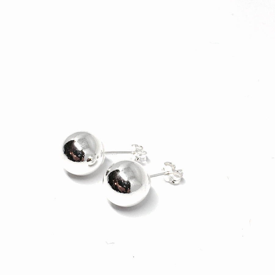 10MM STERLING SILVER SMOOTH BALL STUD EARRINGS