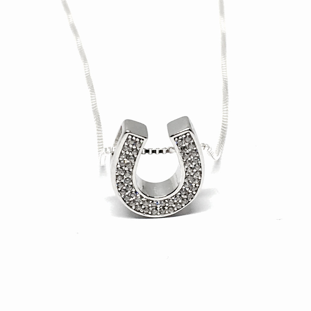 Lucky Silver Crystal Horseshoe Necklace