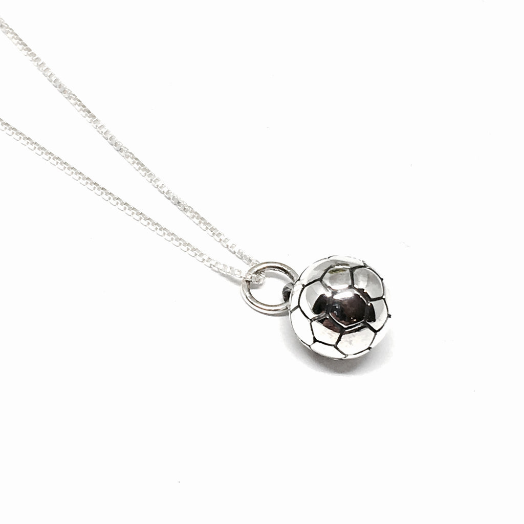 Sterling Silver Soccer Ball Necklace