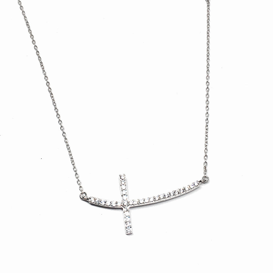Sterling Silver Crystal Side Cross Necklace