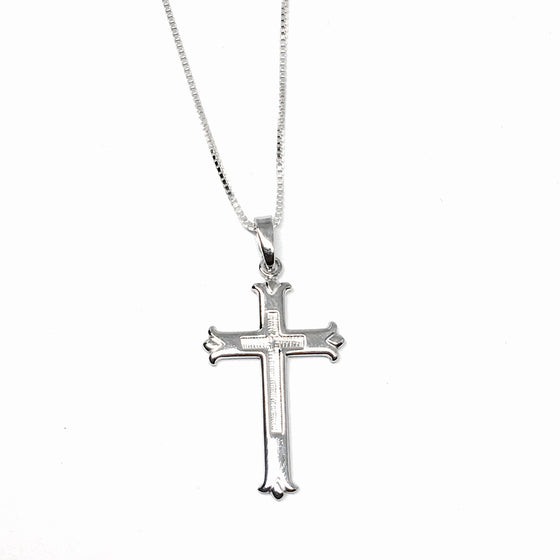 Large Sterling Silver Cross Necklace