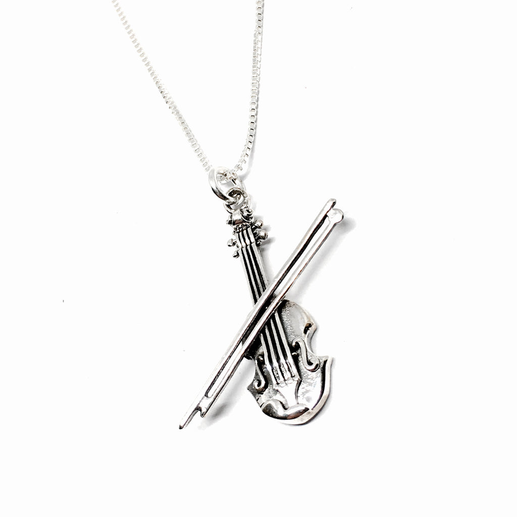 Sterling Silver Violin Necklace